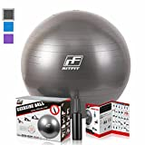 2000lbs Exercise Stability Ball By RitFit, Anti Burst for Pilates Yoga Gym Fitness ,Use As Desk Chair, Hand Pump& Workout Guide Included,Gym Quality (Black, 55cm)