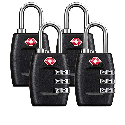 TSA Luggage Locks (4Pack) - 3 Digit Combination Padlocks - Approved Travel Lock for Suitcases & Baggage (Tsa Combination)
