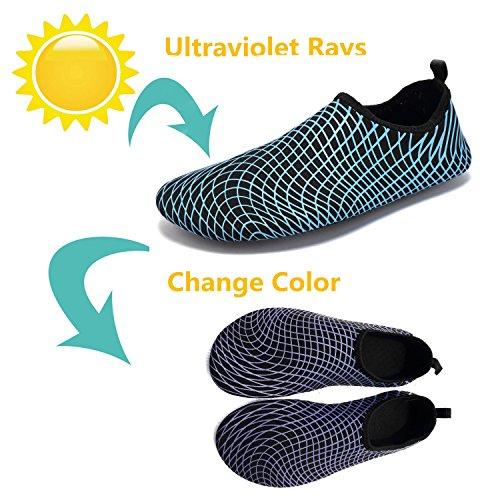 Tcife Männer Frauen Barfuß Wasser Aqua Schuhe Haut flexible Socken für Schwimmen, Wandern, Garten, Park, Fahren, Yoga, See, Strand Swim Ändern Blau