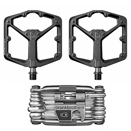 CRANKBROTHERs Crank Brothers Stamp 3 Large Lightweight Bike Pedals Pair (Black) and M19 Bicycle Maintenance - Tool Multi Crank Brothers 10