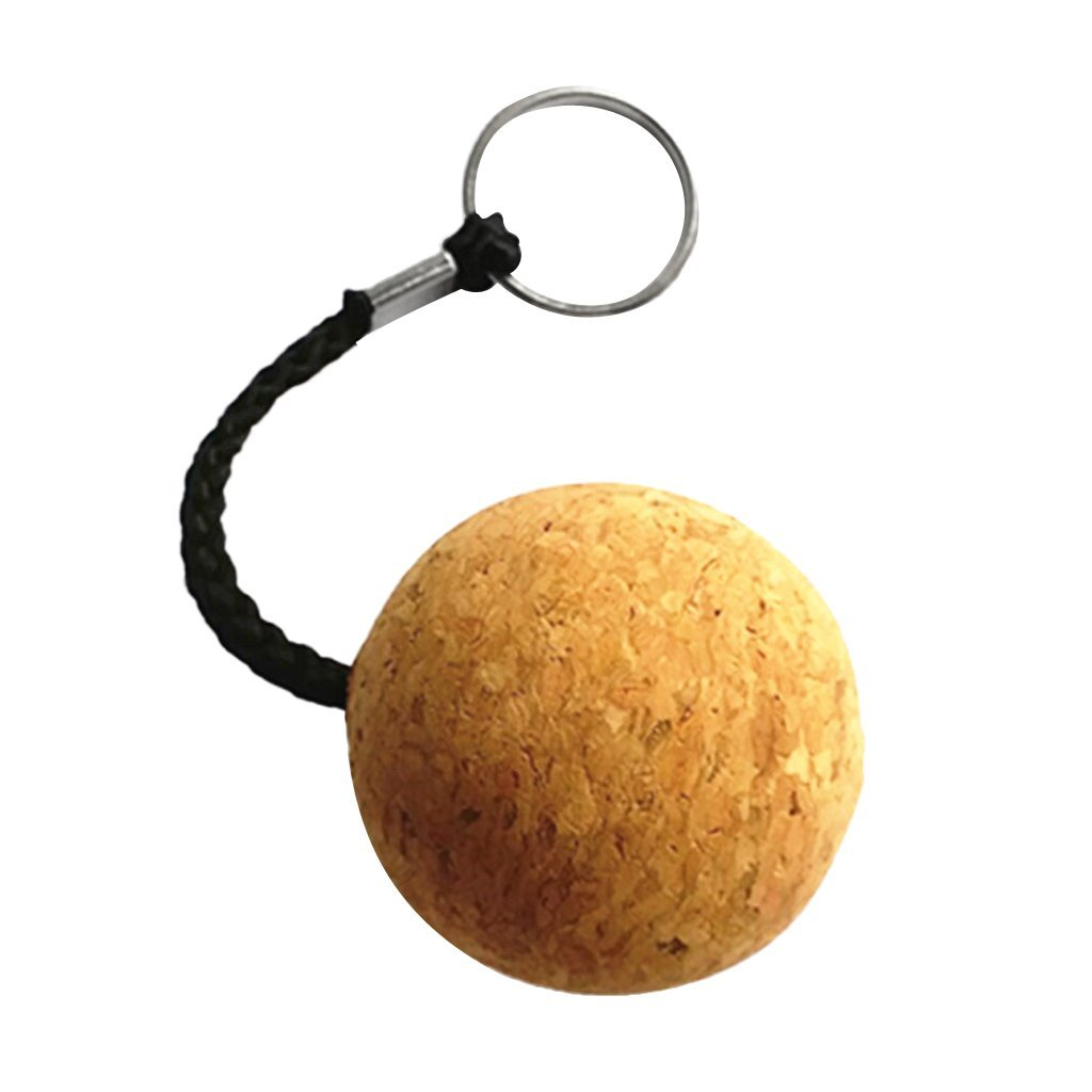 2 Pack Floating Cork Keyring Wooden Ball Buoyant Key Ring Float Water Sports