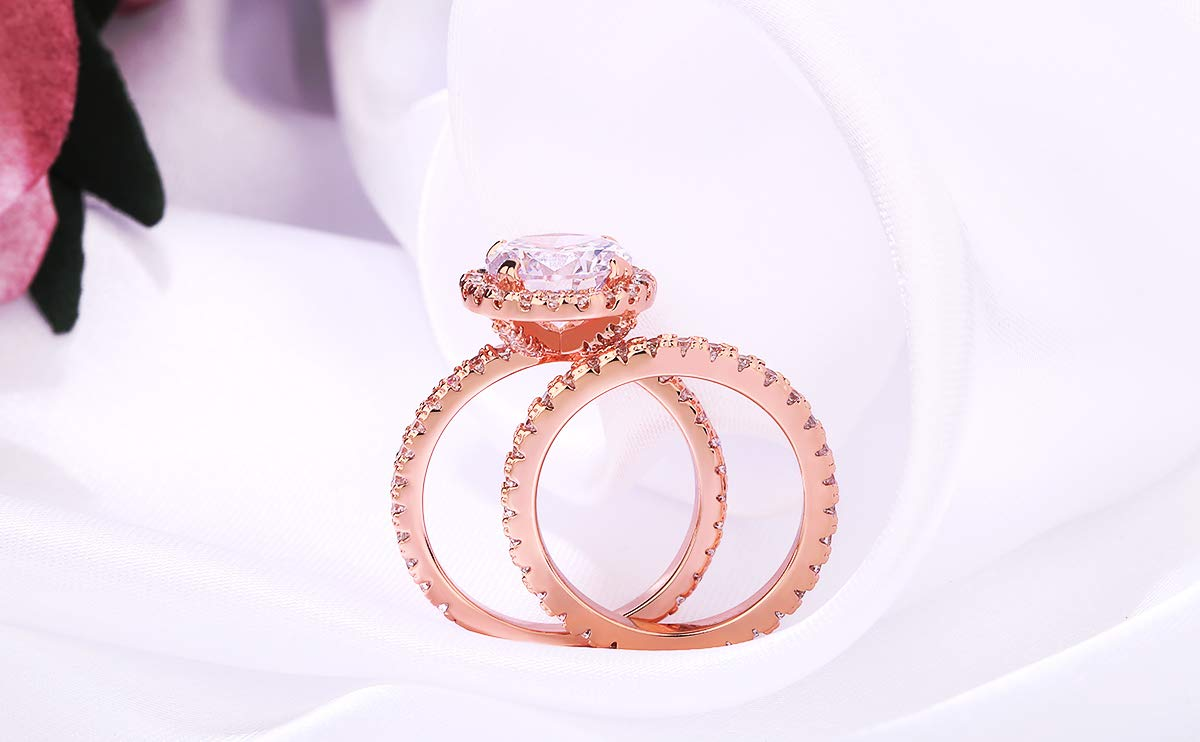 3 Carat Round CZ Solitaire 2 Pieces Ring Set for Women, Halo Style Rose Gold Plated Size 9 by Shengtai (Image #5)