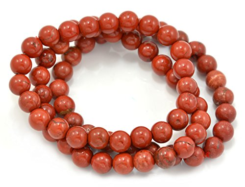 Paialco 6mm Red Jasper Gemstone Stretch Beaded Bracelet, Pack of 3