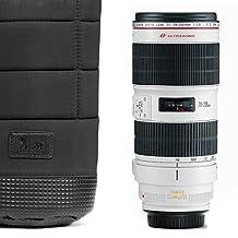 MegaGear Soft Lens Pouch Bag Cover for Canon, Nikon, Pentax, Olympus, Fujifilm, Sigma, Sony - Large (Black)