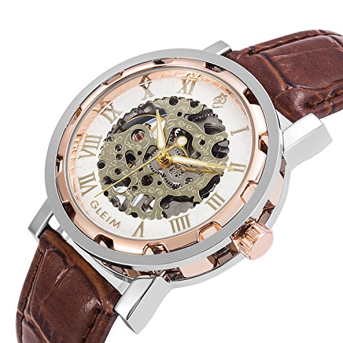 GuTe Mechanical Watch,Unisex Men Women Rose Gold-Tone See-thru Dial Hand Winding Brown Watch (Brown) (Rose Dial)