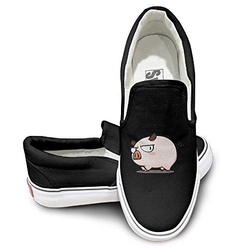 EWIED Unisex Classic Cute Pig Live Slip-On Shoes Black -