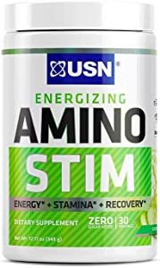 USN Energizing Amino Stim Sugar Free Energy Supplement - Energy, Stamina Recovery Powder with BCAAs, Green Apple, 30 Servings