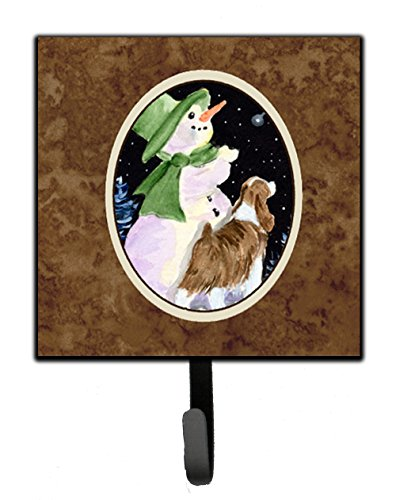 (Caroline's Treasures SS8949SH4 Snowman with Springer Spaniel Leash Holder or Key Hook, Small, Multicolor)