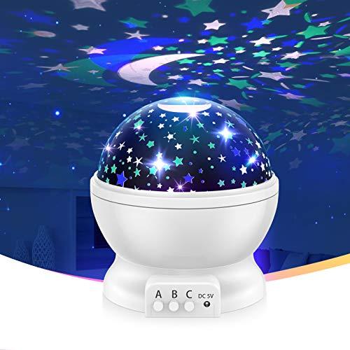 515MTEAW2yL. SS500 【Romántico y hermoso】 Este proyector para bebés puede ayudarlo a llevar el universo a su hogar. Te muestra el cielo estrellado en la pared o el techo de la habitación. Hay muchos modelos al respecto. Además, es rico en color. Rodeado de estrellas, crea un ambiente cálido y romántico. 【Diseñado para niños】 Con material ABS, sin olores desagradables, sin ruido, fuerte resistencia al impacto. Los chips LED regulables IC de alta calidad se pueden utilizar durante más de un año. Ahorran energía, tienen una vida útil prolongada y generan luz saludable y sin radiación. 【Luces de ensueño】 Hay diferentes modos de iluminación. Modo A: modo de luz nocturna cálida. Modo B: alternancia de luces de colores (blanco cálido / azul / verde / rojo). Modo C: las luces de estrella se pueden girar 360 °. Simplemente cambie entre modos para disfrutar del hermoso cielo estrellado y brindarle una experiencia fantástica.