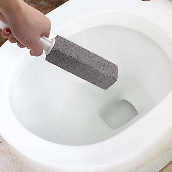 Shinymod Piedra de limpieza de piedra pómez con mango, limpieza de manchas profundas de bloques y removedor de anillo de agua dura para loo / cocina ...