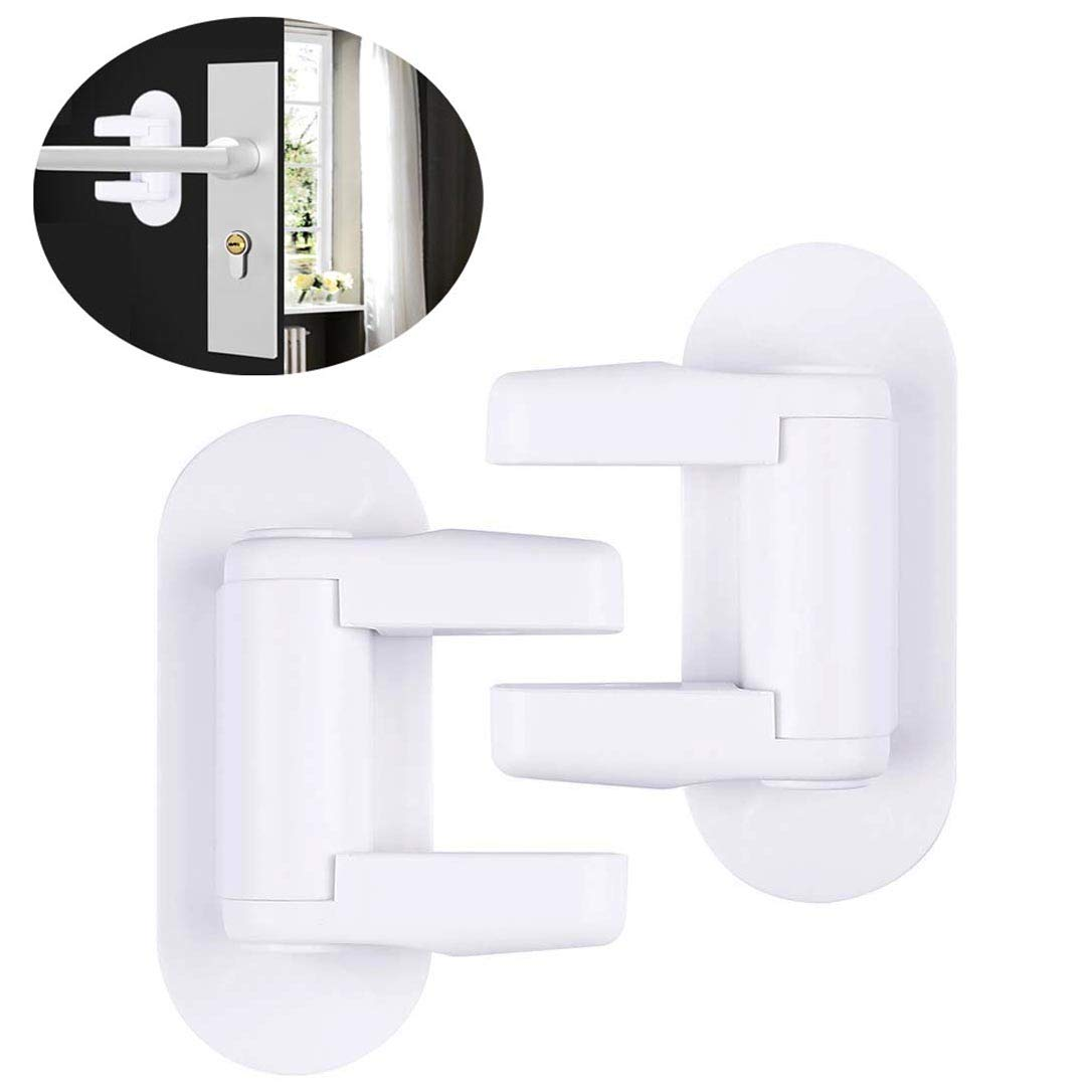 Door Lever Lock Child - Kid Proof Doors Handles Knob Safety Lock 3M Adhesive (2 Pack) (2 Packs) MMDAI