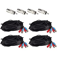 ZOSI 4 Pack 65ft 20m AHD TVI BNC Power Video Cable Wire Connector for Security System CCTV Camera