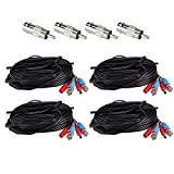 ZOSI 4 Pack 65Feet 20m BNC Video Power Cable Security Camera Wire Cord for Surveillance CCTV DVR Surveillance System (4-Pack, Black)