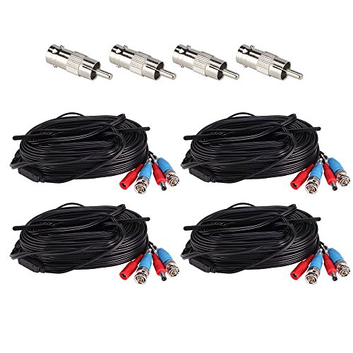 ZOSI 4 Pack 65Feet 20m BNC Video Power Cable Security Camera Wire Cord for Surveillance CCTV DVR Surveillance System (4-Pack, Black) by ZOSI