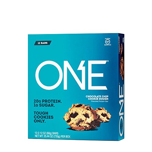 ONE Protein Bar, Chocolate Chip Cookie Dough, 2.12 oz. (12 Pack), Gluten-Free Protein Bar with High Protein (20g) and Low Sugar (1g), Guilt Free Snacking for Healthy Diets (Caramel Chocolate Chips)