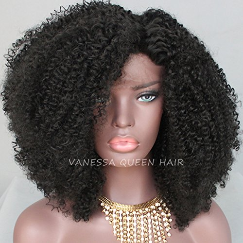 Price comparison product image Vanessa Queen Afro Kinky Curly Synthetic Lace Front Wig for Black Women Black Color Curly Glueless Wigs 16 Inch