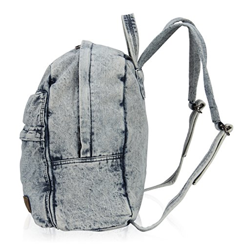 Hynes Eagle Cool Denim Jeans Backpack School Rucksack 20 Liter (Light Blue)