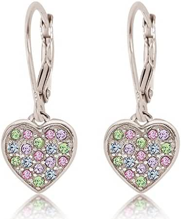 925 Sterling Silver with a White Gold Tone Mixed Colored Crystal Heart Leverback Children's Earrings