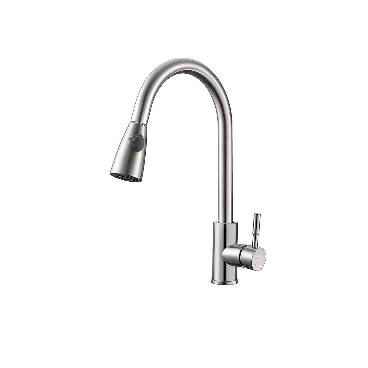Silver 8haowenju High Quality Commercial Single Handle High Arc Brushed Pull Out Kitchen Faucet, Single Level Kitchen Sink Faucets, One-Handle Kitchen Faucet (color   Silver)