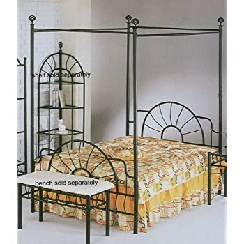 83 H Sunburst Full Size Canopy Bed-Headboard/Footboard  sc 1 st  Amazon.com & Amazon.com: DHP Modern Metal Canopy Bed Full White: Kitchen u0026 Dining