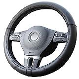 Amuahua Car Steering Wheel Cover, Universal 15 inch/38CM Breathable for Auto/Truck/SUV/Van(Black Mircofiber)