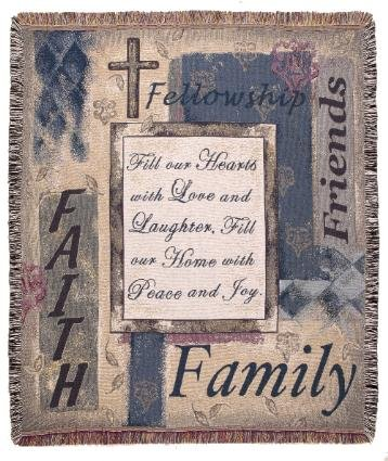 Simply Home Fill Our Hearts Family Friends Faith Deluxe Tapestry Throw Blanket Made in the USA SKU TPM922