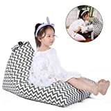 Cozy Lounger Bed Covers for Stuffed Animals, Perfect House Storage Bag, Interesting Bean Bag Furniture & Décor for Kids Toys House (COVER ONLY) - Chevron Print Gray - 100 L