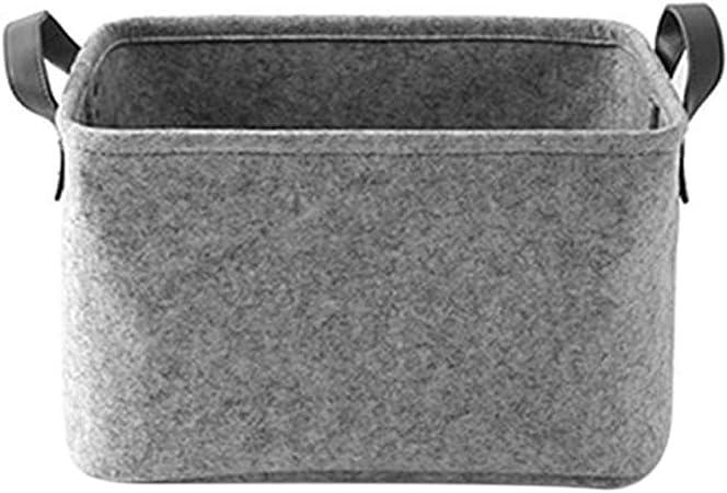 MSYOU Cesto portabiancheria in Feltro Grigio Chiaro Borsa portaoggetti Multifunzione Bagno Giocattoli Abbigliamento Dimensioni 33 x 23 x 20 cm per casa dormitorio