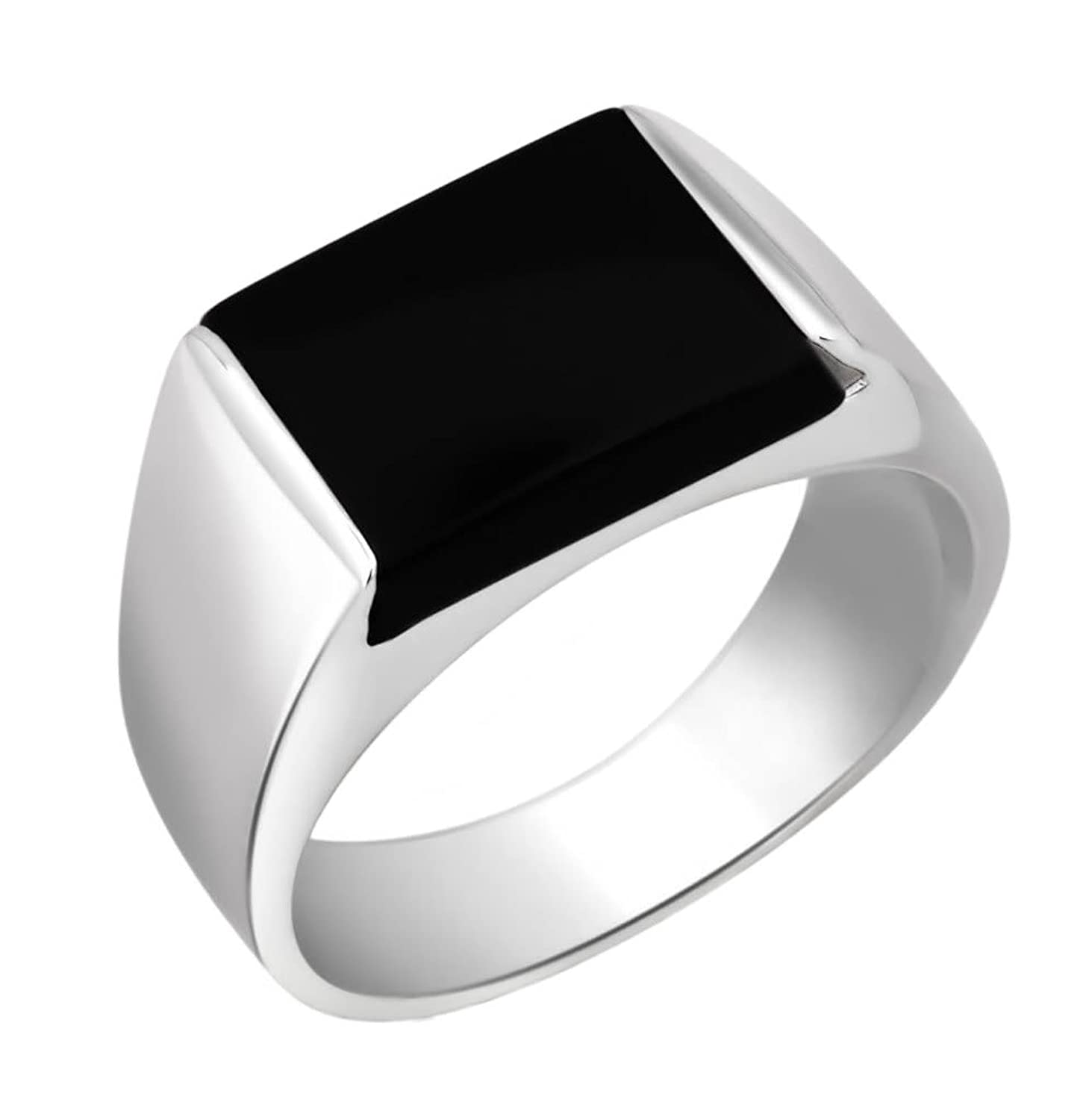 Peora Sterling Silver Rhodium Plated Rectangle Black Onyx ...