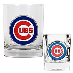 MLB Chicago Cubs Rocks Glass & Square Shot Glass Set - Primary Logo