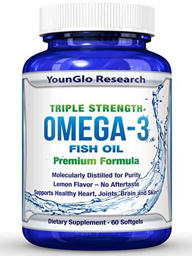 Fish Oil Pills - Pharmaceutical Quality - Triple Strength Omega 3 Burpless Capsules (1 Pack)