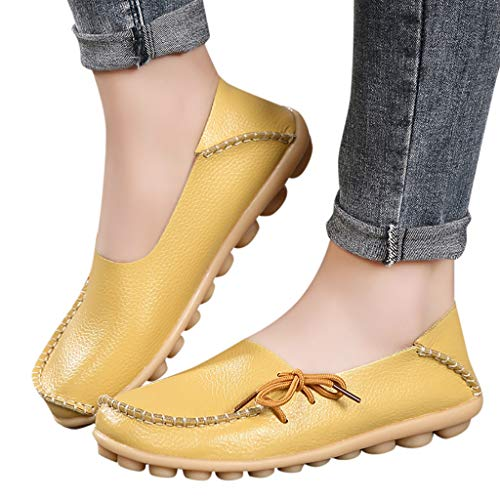 (Women's Leather Loafers Casual Round Toe Slip-On Moccasins Soft Comfort Driving Walking Flats Shoes (Yellow-1, US 6.5))