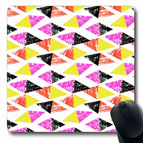 Ahawoso Mousepad Oblong 7.9x9.8 Inches Rhombus Clown Hand Abstract Pattern Bold Color Watercolor African Aztec Block Bohemian Boho Design Office Computer Laptop Notebook Mouse Pad,Non-Slip Rubber
