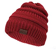 MJ-Young Ladies Solid Color Ponytail Beanie Hat Winter Woman Hats Soft Warm Cotton Cap Slouchy Skullies Red
