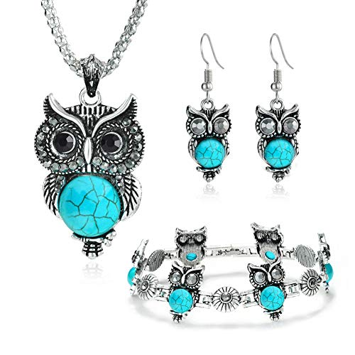 (Miraculous Garden Girls Vintage Owl Jewelry Sets Silver Retro Turquoise Gemstone Owl Pendant Necklace Drop Earrings Charm Bracelet Set)