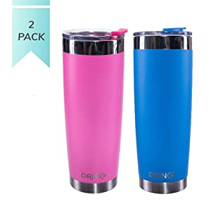 Drinco - Stainless Steel Tumbler | Double Walled Vacuum Insulated Mug With Spill Proof Lid For Hot & Cold Drinks | Pink Blue | Perfect for Hiking, Camping & Traveling | BPA Free | 20oz Twin pack