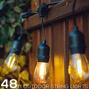 48Ft Outdoor String Lights, UL Listed Patio Lights, Hanging Sockets with 11S14 Edison Vintage Bulbs
