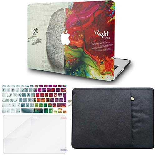 """KECC Laptop Case for MacBook Air 13"""" w/Keyboard Cover + Sleeve + Screen Protector (4 in 1 Bundle) Plastic Hard Shell Case A1466/A1369 (Brain)"""