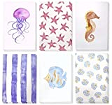 Juvale 48 Pack All Occasion Assorted Blank Note Cards Greeting Card Bulk Box Set, Blank on the Inside, 6 Watercolor Sea Designs Jellyfish, Starfish and Seahorse - Envelopes Included, 4 x 6 Inches