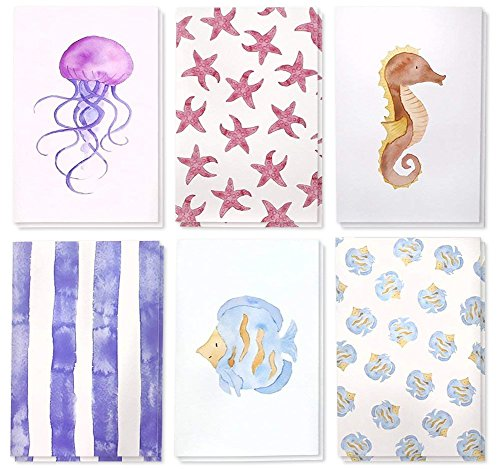 (Juvale 48 Pack All Occasion Assorted Blank Note Cards Greeting Card Bulk Box Set, Blank on The Inside, 6 Watercolor Sea Designs Jellyfish, Starfish and Seahorse - Envelopes Included, 4 x 6 Inches)