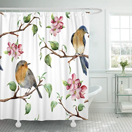 (Emvency Waterproof Shower Curtain Curtains Watercolor with Tree Branches Birds and Apple Blossom Hand Spring with Robin 72