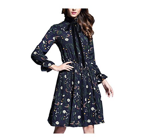 Navy Primavera a Pieghe Chiffon Floreale Elegante Lunga Donna Vintage Blu Vestiti Estate FuweiEncore di Manica Stampato Abito n6HCaWIqR