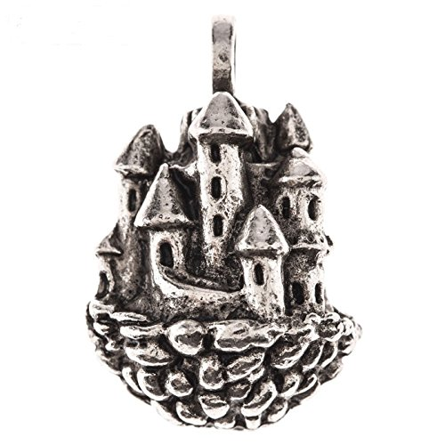 Pewter Ox Plated Floating Castle Pendant - Pewter Crown Keepsake