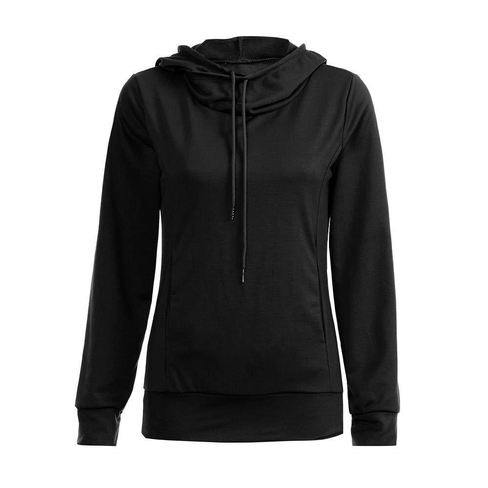UONQD Women Sweaters Long Sleeve Pullover Hooded Pocket Sweatshirt Jumper Tops (XX-Large,Black)