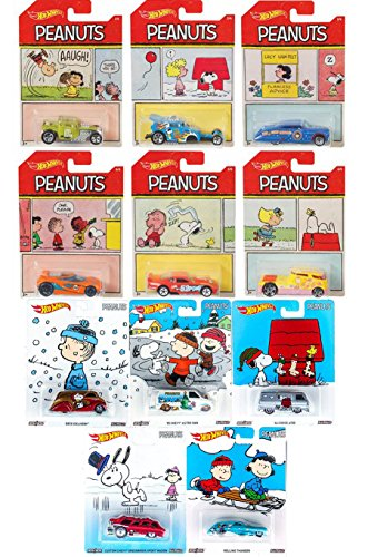 Peanuts Premium Hot Wheels Pop Culture Holiday Box + Comic Strip Edition Exclusive Set character Cars Officially Licensed Collectibles Charlie Brown & Friends 11 (Ford Classic Blanket)