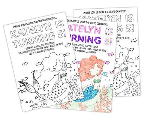 DIY Mermaid Birthday Invitations Kit Personalized Color Craft Girls