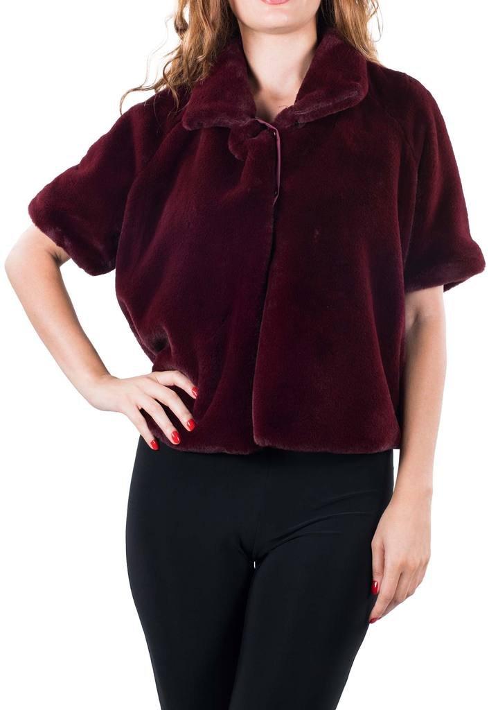 Joseph Ribkoff Burgundy Faux Fur Cropped Jacket Style 164387 - Size 12 by Joseph Ribkoff