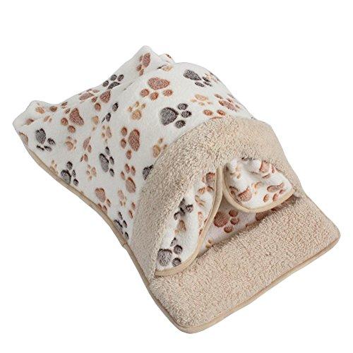 Topbeu Warm Pet Cat Sleeping Bag Dog Cat Kennel Cat Kitten Cave Cat Bed Pet Pads (M, White)
