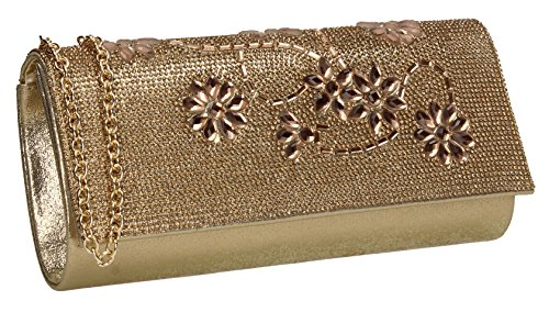 SWANKYSWANS Clutch Wedding Glitter Bag Diamante Gold Womens Prom Glass Reese Party 8qwra78