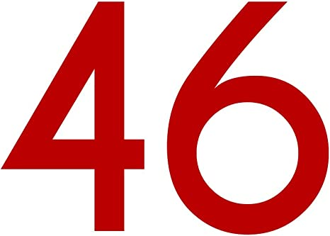 Zahlenaufkleber Nummer 46 Rot 20cm 200mm Hoch Aufkleber Mit Zahlen In Vielen Farben Höhen Wetterfest Küche Haushalt
